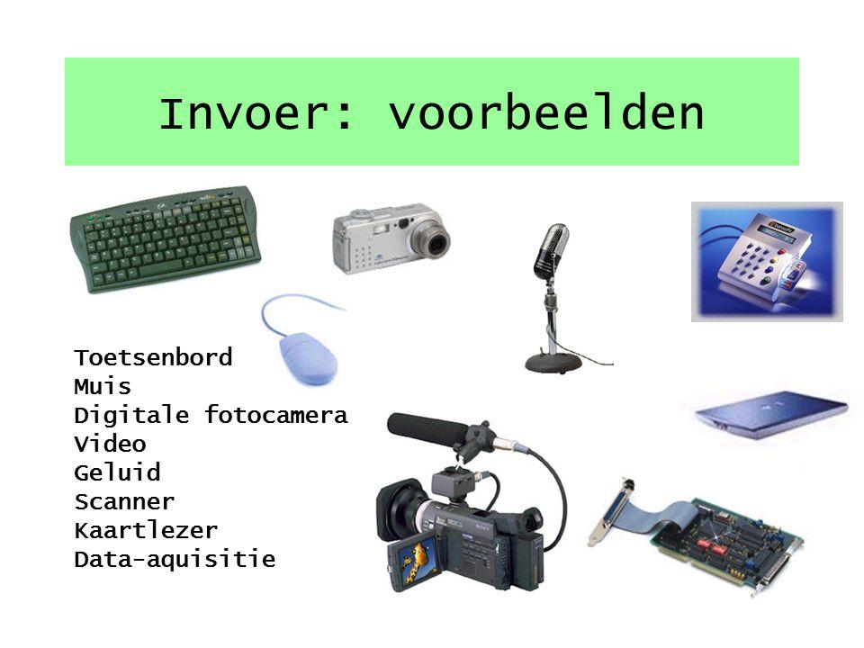 Invoer: voorbeelden Toetsenbord Muis Digitale fotocamera
