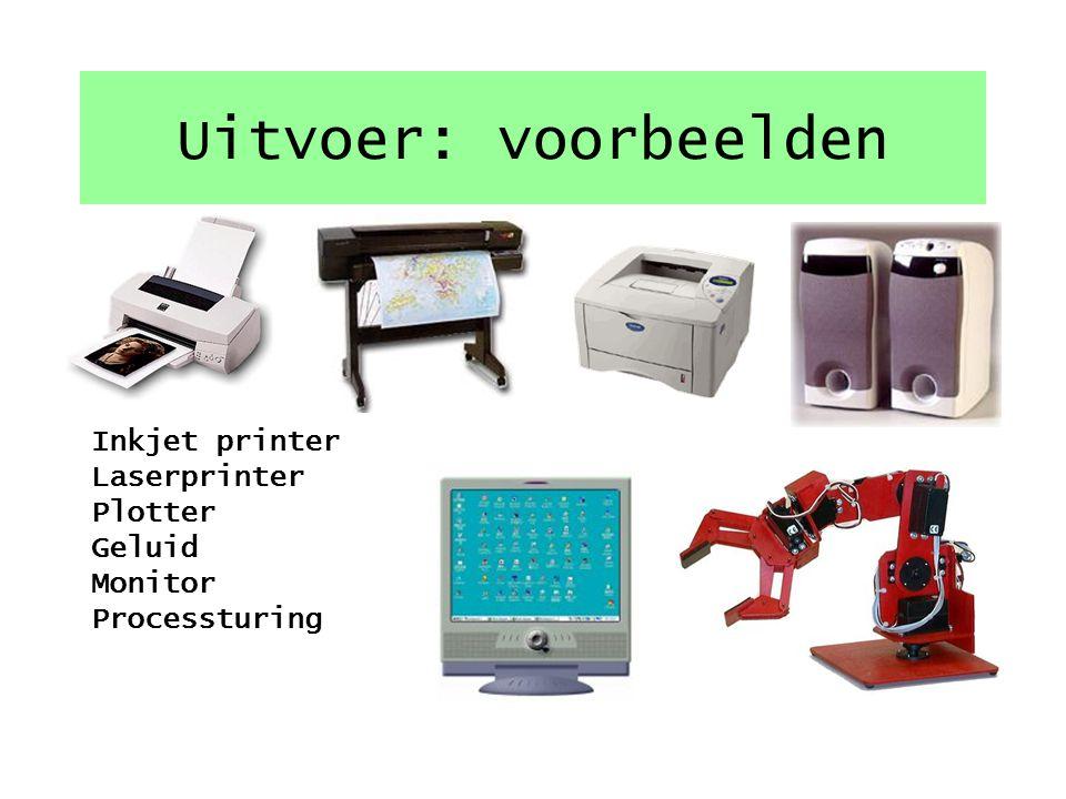 Uitvoer: voorbeelden Inkjet printer Laserprinter Plotter