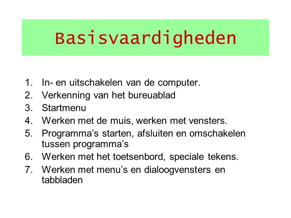 Basisvaardigheden In- en uitschakelen van de computer.
