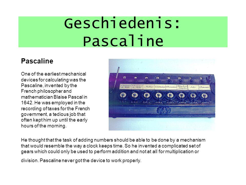 Geschiedenis: Pascaline