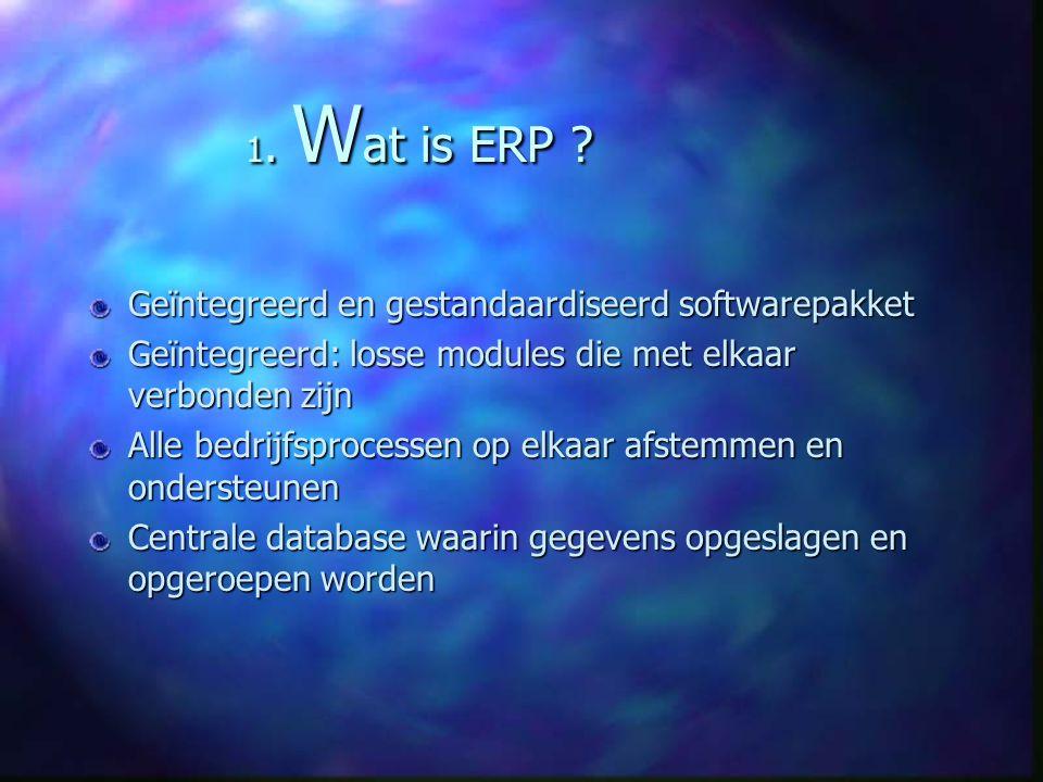 1. Wat is ERP Geïntegreerd en gestandaardiseerd softwarepakket