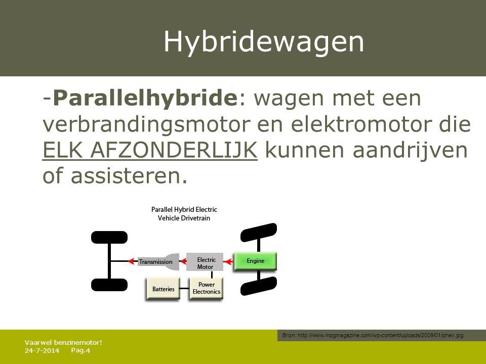 Hybridewagen -Parallelhybride: wagen met een verbrandingsmotor en elektromotor die ELK AFZONDERLIJK kunnen aandrijven of assisteren.