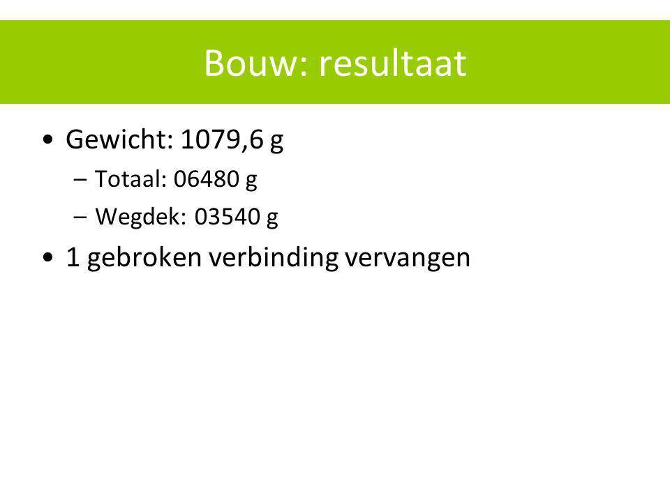 Bouw: resultaat Gewicht: 1079,6 g 1 gebroken verbinding vervangen