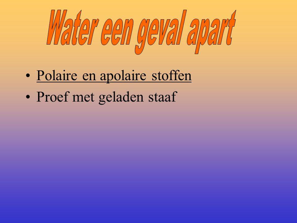 Water een geval apart Polaire en apolaire stoffen Proef met geladen staaf