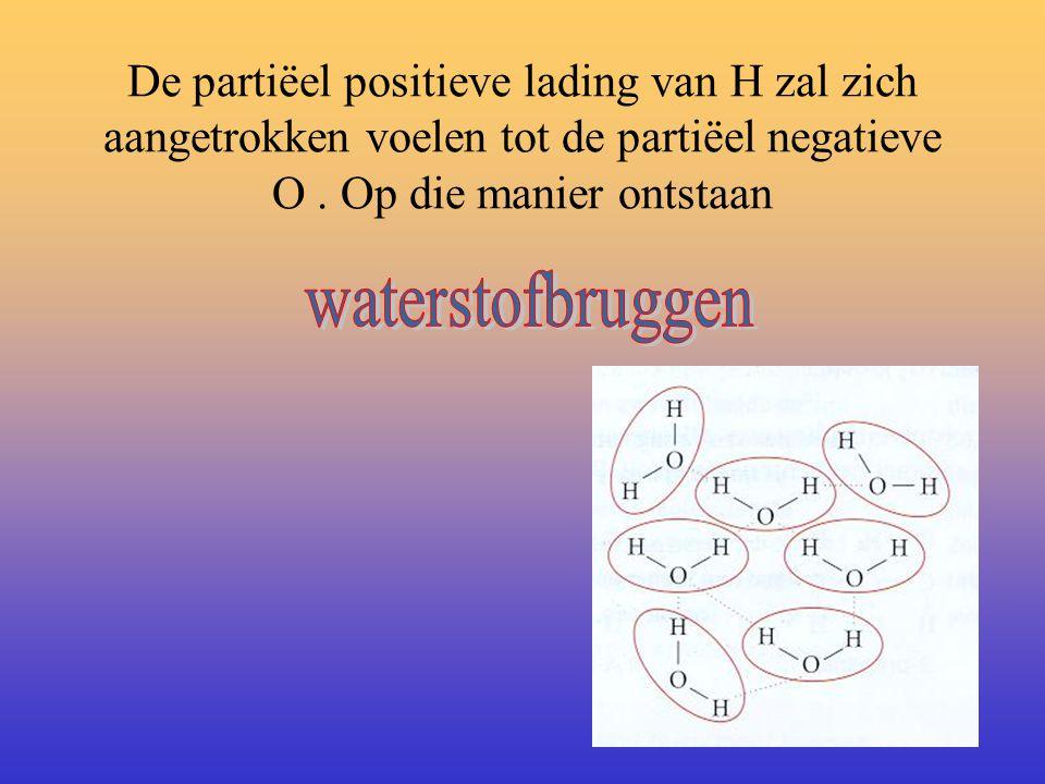 De partiëel positieve lading van H zal zich aangetrokken voelen tot de partiëel negatieve O . Op die manier ontstaan