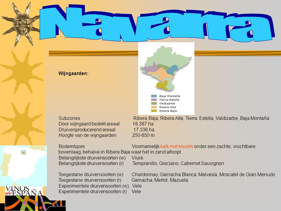 Navarra Wijngaarden: Subzones Ribera Baja, Ribera Alta, Tierra Estella, Valdizarbe, Baja Montaña.