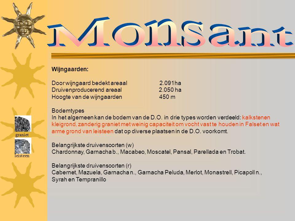 Monsant Wijngaarden: Door wijngaard bedekt areaal 2.091ha