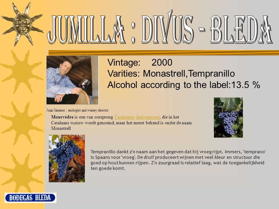 Varities: Monastrell,Tempranillo Alcohol according to the label:13.5 %