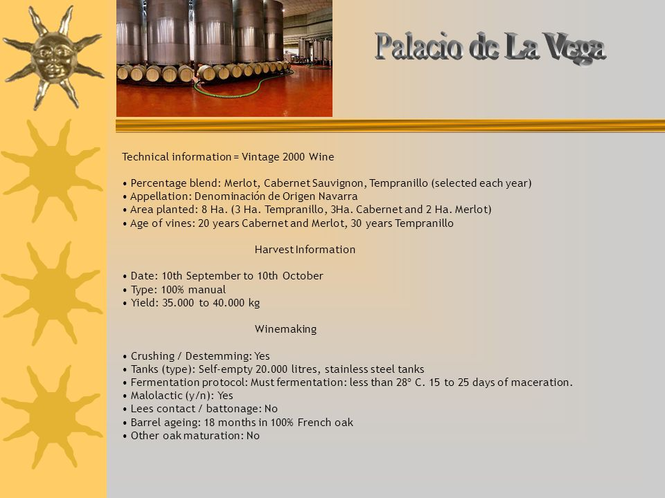 Palacio de La Vega Technical information = Vintage 2000 Wine
