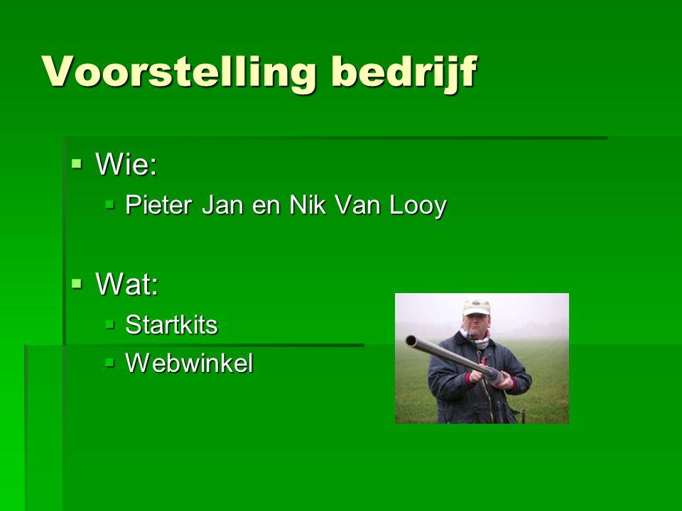 Voorstelling bedrijf Wie: Wat: Pieter Jan en Nik Van Looy Startkits