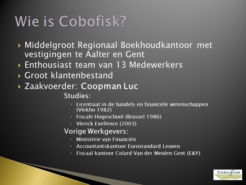 Wie is Cobofisk Middelgroot Regionaal Boekhoudkantoor met vestigingen te Aalter en Gent. Enthousiast team van 13 Medewerkers.
