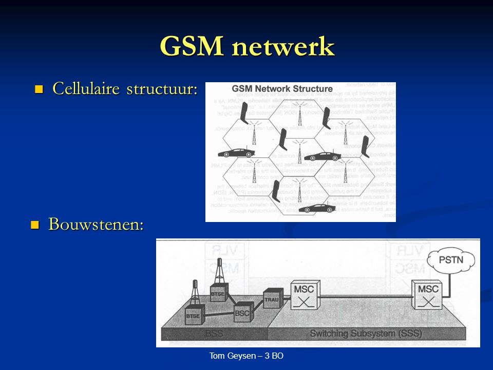 GSM netwerk Cellulaire structuur: Bouwstenen: Tom Geysen – 3 BO