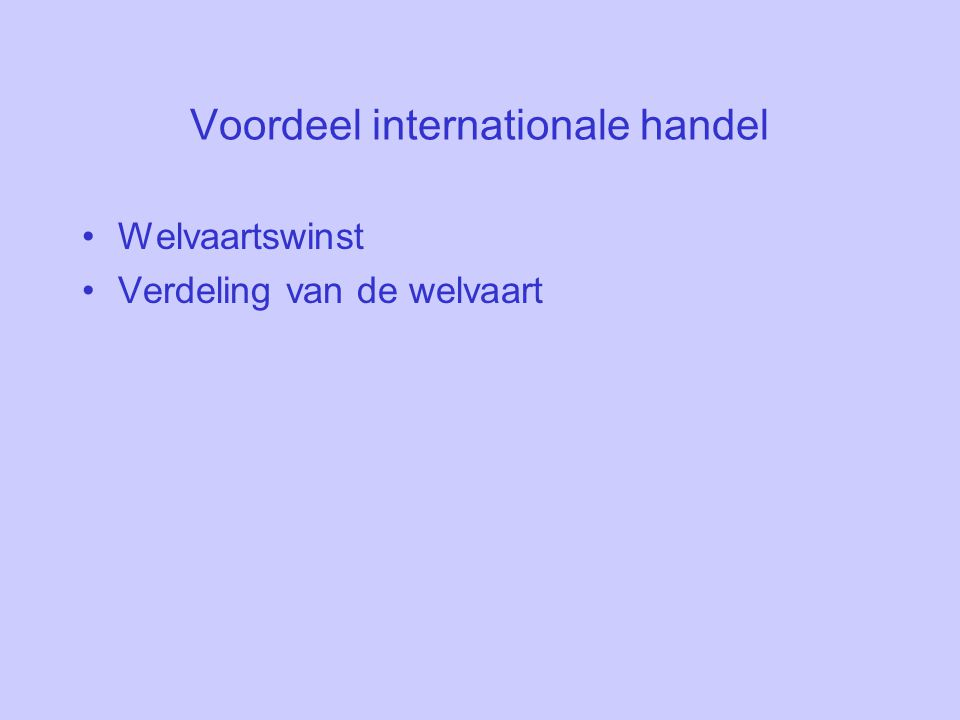 Voordeel internationale handel
