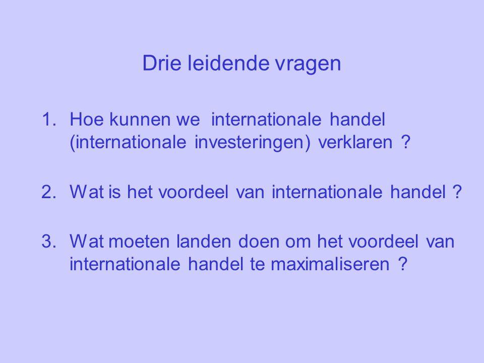 Drie leidende vragen Hoe kunnen we internationale handel (internationale investeringen) verklaren