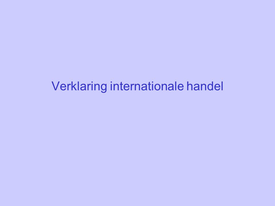 Verklaring internationale handel