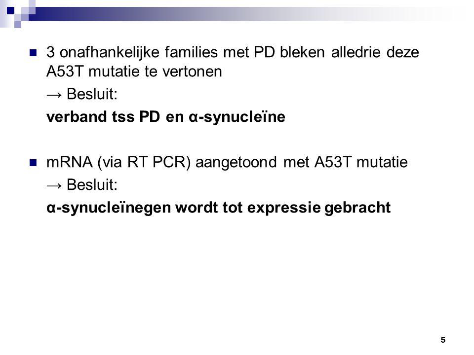 3 onafhankelijke families met PD bleken alledrie deze A53T mutatie te vertonen