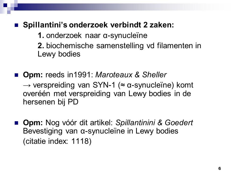 Spillantini's onderzoek verbindt 2 zaken: