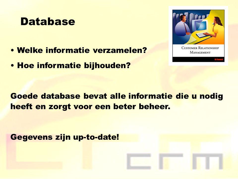 Database Welke informatie verzamelen Hoe informatie bijhouden
