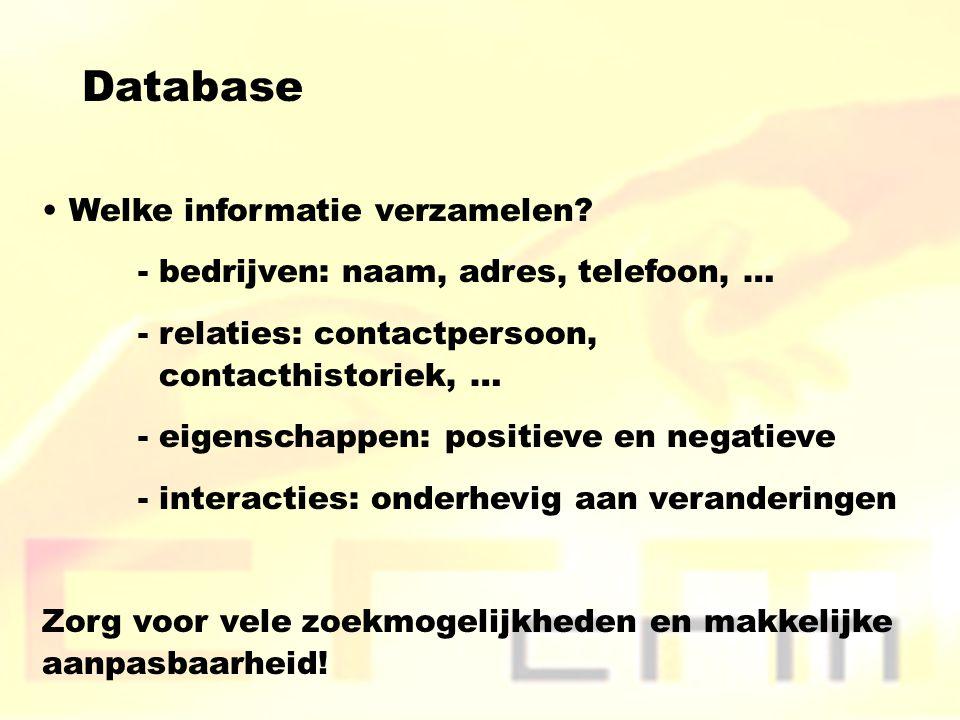 Database Welke informatie verzamelen