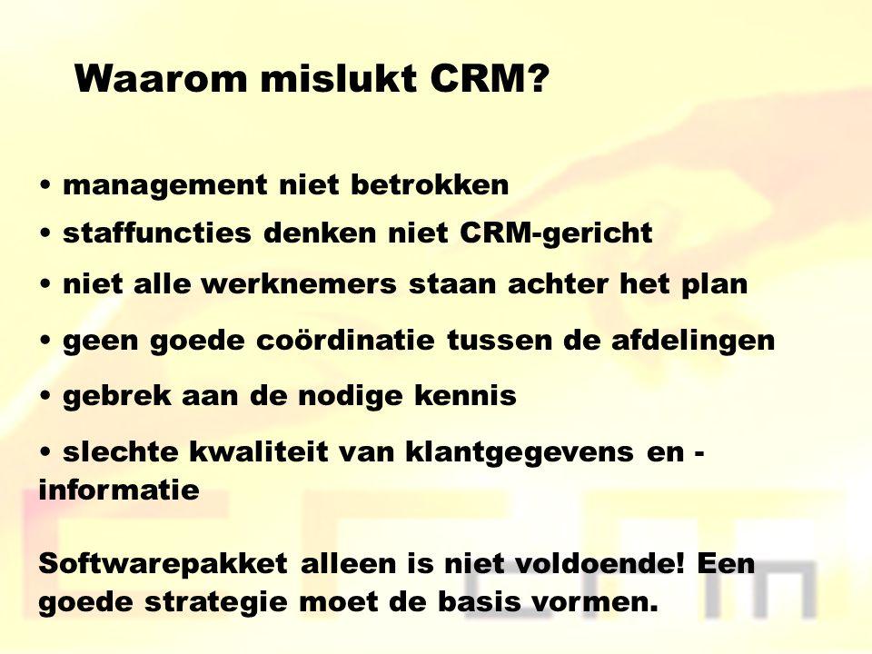 Waarom mislukt CRM management niet betrokken