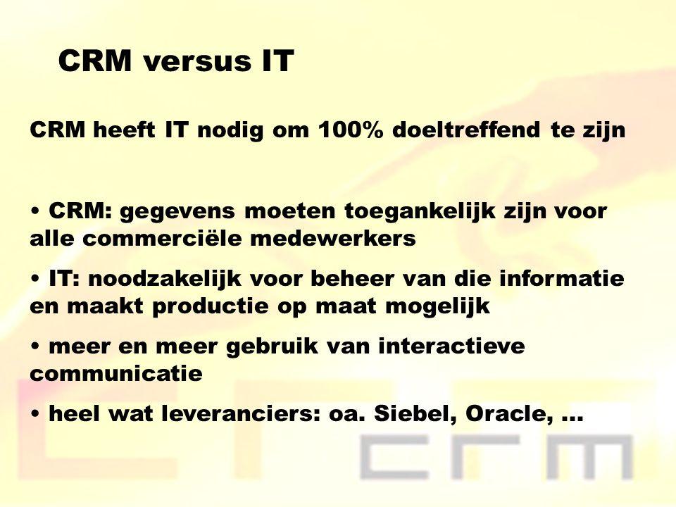 CRM versus IT CRM heeft IT nodig om 100% doeltreffend te zijn