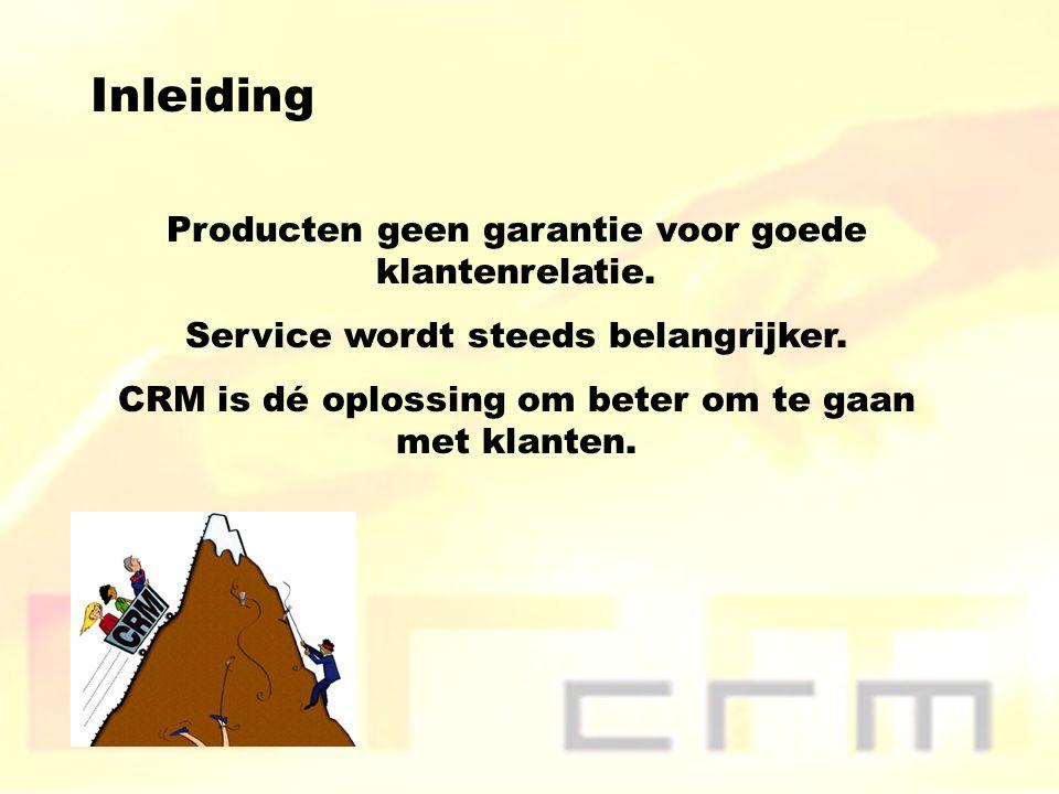 Inleiding Producten geen garantie voor goede klantenrelatie.