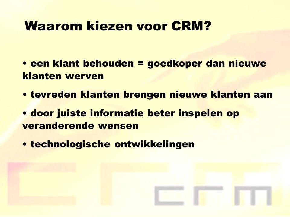 Waarom kiezen voor CRM een klant behouden = goedkoper dan nieuwe klanten werven. tevreden klanten brengen nieuwe klanten aan.