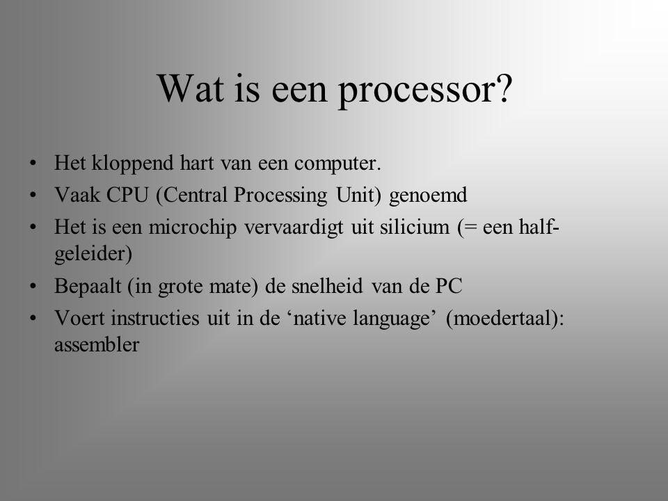 Wat is een processor Het kloppend hart van een computer.