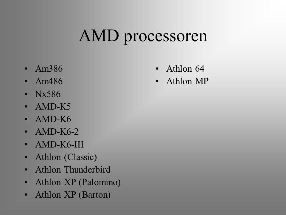 AMD processoren Am386 Am486 Nx586 AMD-K5 AMD-K6 AMD-K6-2 AMD-K6-III