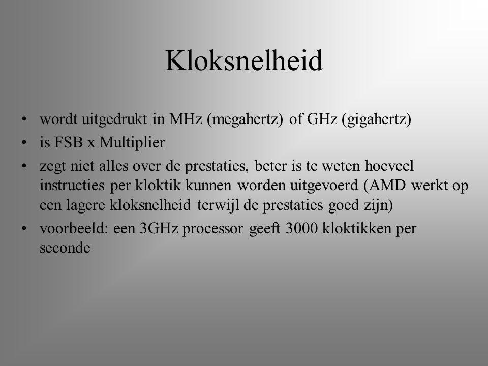 Kloksnelheid wordt uitgedrukt in MHz (megahertz) of GHz (gigahertz)