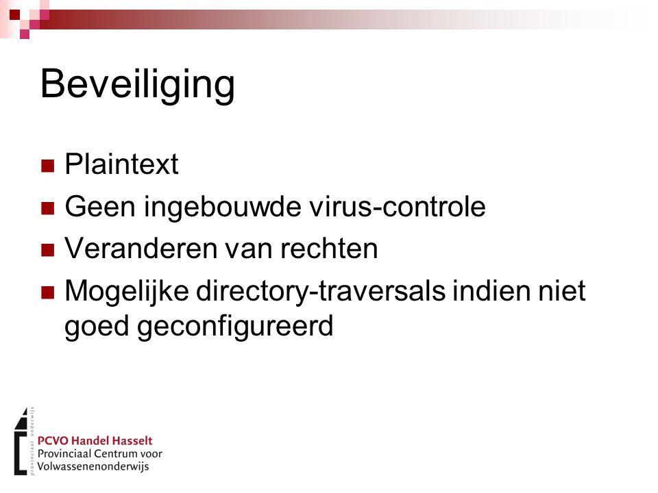 Beveiliging Plaintext Geen ingebouwde virus-controle