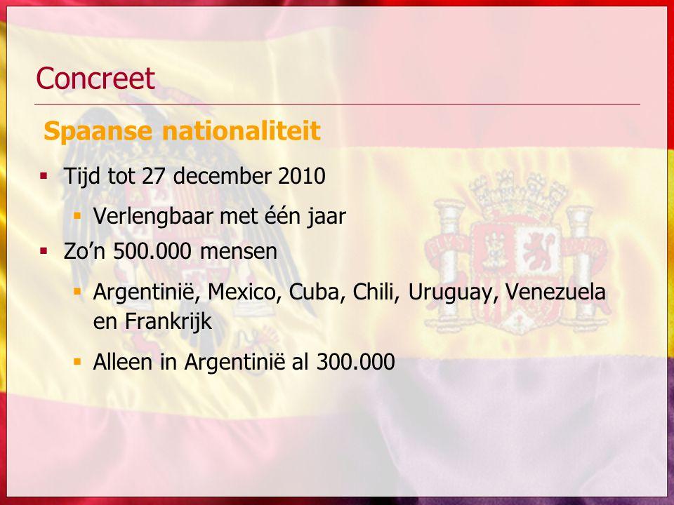Concreet Spaanse nationaliteit Tijd tot 27 december 2010