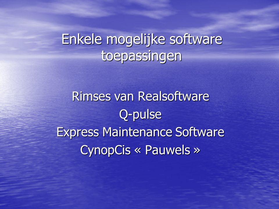 Enkele mogelijke software toepassingen