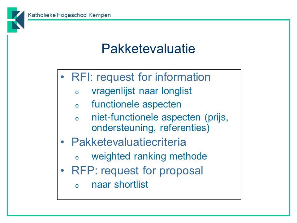 Pakketevaluatie RFI: request for information Pakketevaluatiecriteria
