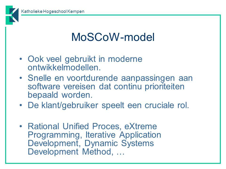 MoSCoW-model Ook veel gebruikt in moderne ontwikkelmodellen.