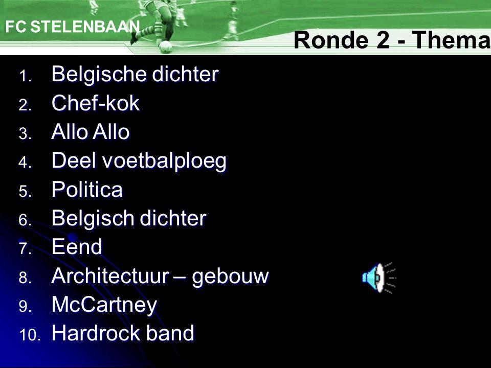 Ronde 2 - Thema Belgische dichter Chef-kok Allo Allo Deel voetbalploeg