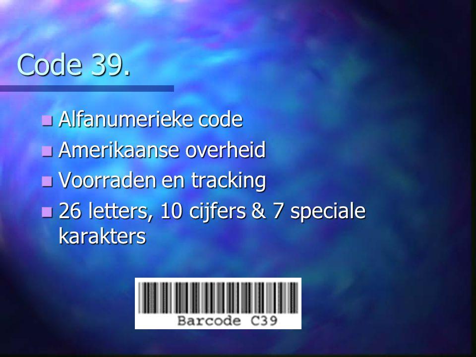 Code 39. Alfanumerieke code Amerikaanse overheid Voorraden en tracking