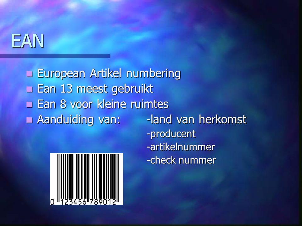 EAN European Artikel numbering Ean 13 meest gebruikt