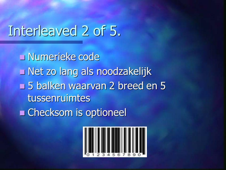 Interleaved 2 of 5. Numerieke code Net zo lang als noodzakelijk
