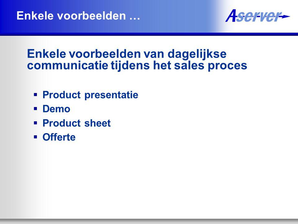 Enkele voorbeelden … Enkele voorbeelden van dagelijkse communicatie tijdens het sales proces. Product presentatie.