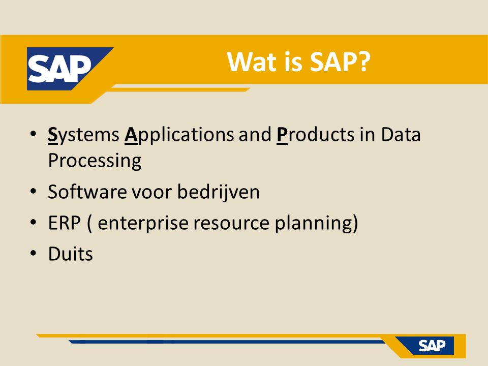 Wat is SAP Systems Applications and Products in Data Processing