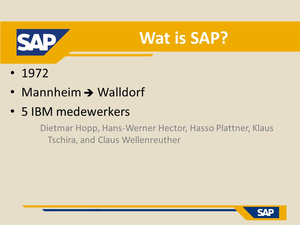 Wat is SAP 1972 Mannheim  Walldorf 5 IBM medewerkers