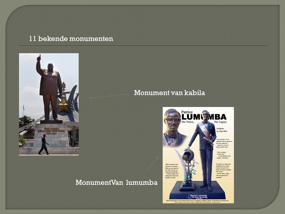 11 bekende monumenten Monument van kabila MonumentVan lumumba