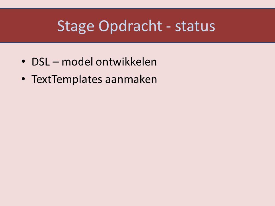 Stage Opdracht - status