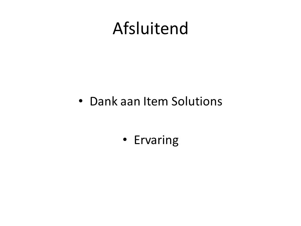 Dank aan Item Solutions