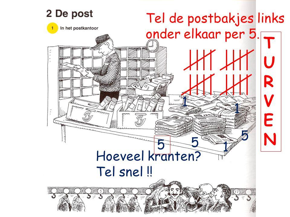 T U R V E N Tel de postbakjes links onder elkaar per 5. 1 1 5 5 5 1