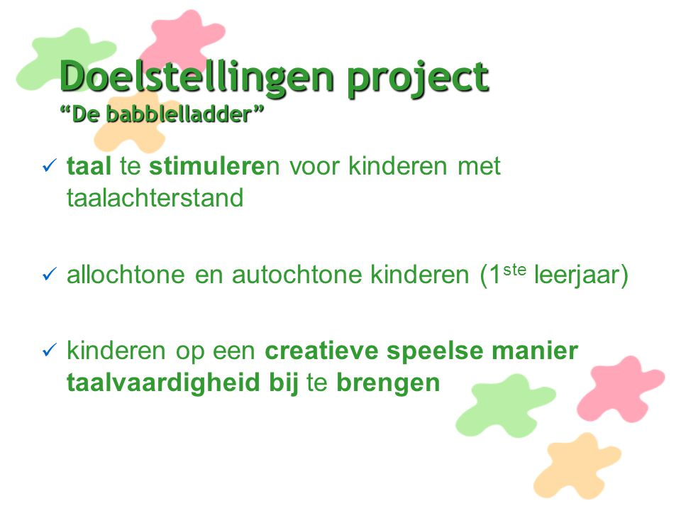 Doelstellingen project De babblelladder