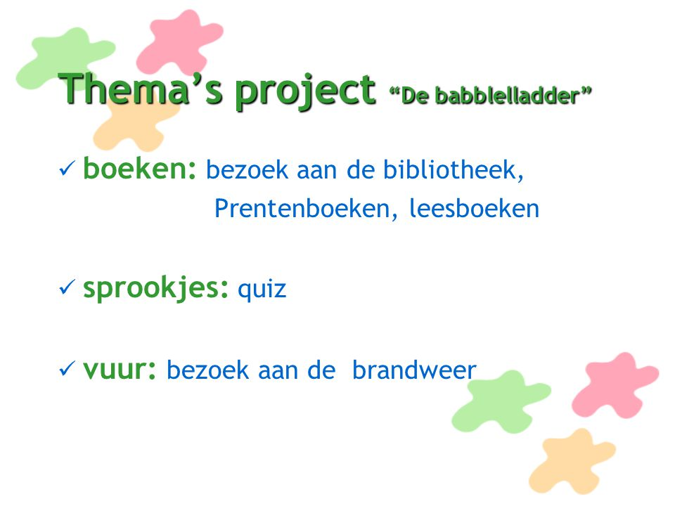 Thema's project De babblelladder