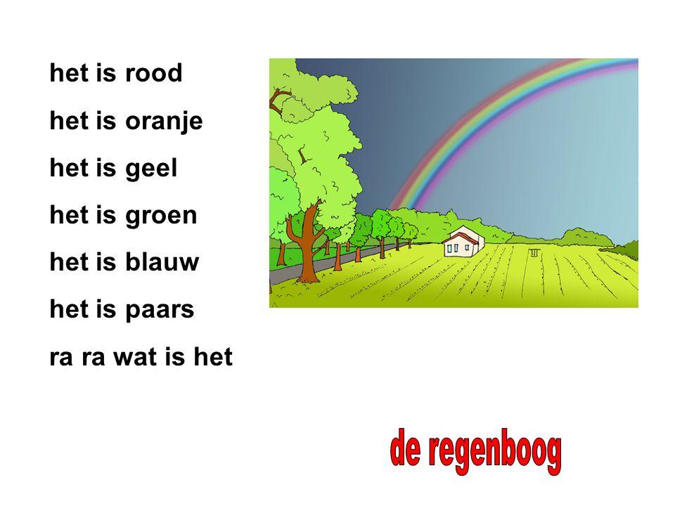 de regenboog het is rood het is oranje het is geel het is groen