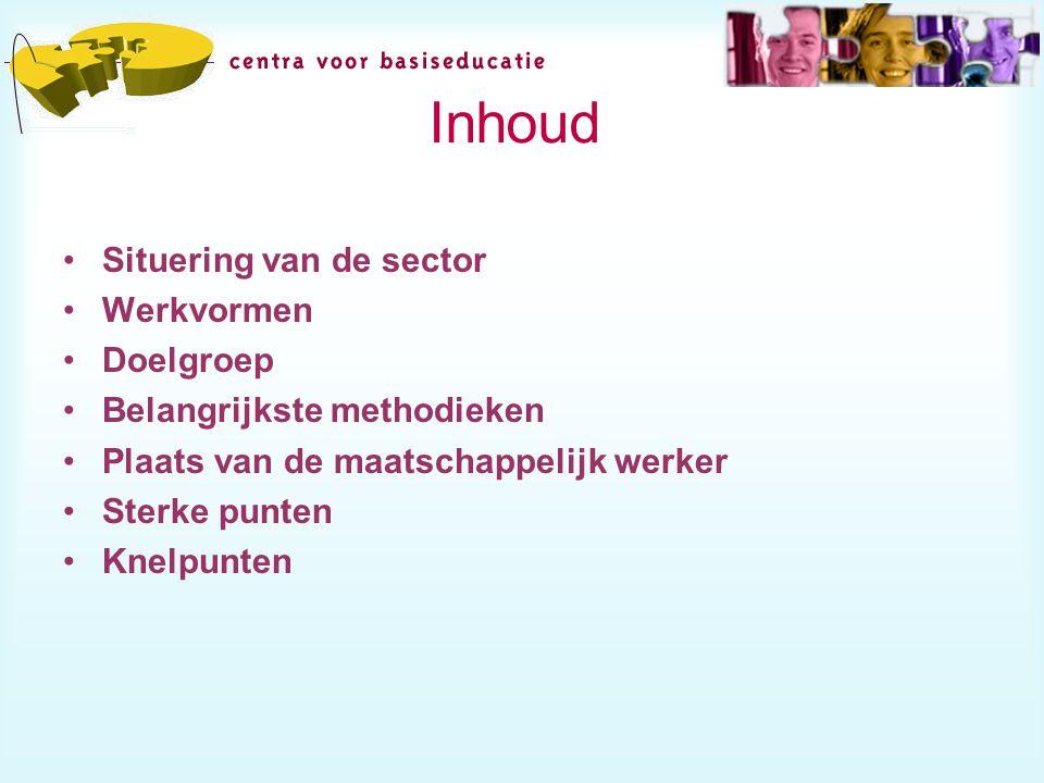 Inhoud Situering van de sector Werkvormen Doelgroep